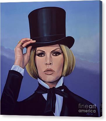 Brigitte Bardot Blue Painting Canvas Print by Paul Meijering