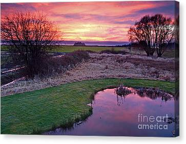 Brilliant Sunset With Pond Landscape Canvas Print by Valerie Garner