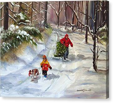 Bringing Home The Christmas Tree Canvas Print by Carole Powell
