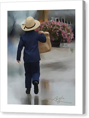 Brining It Home To Mom Canvas Print by Bob Salo