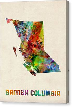 British Columbia Watercolor Map Canvas Print by Michael Tompsett