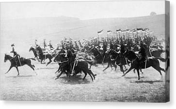 British Lancers Charging Canvas Print by Underwood Archives