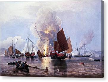 British Ships Destroying An Enemy Fleet In Canton Canvas Print by Anonymous