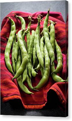 Broad Beans On A Red Cloth Canvas Print by Aberration Films Ltd