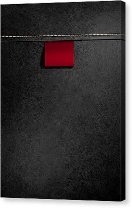 Broad Clothing Label In Black Leather Canvas Print by Allan Swart