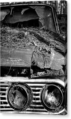 Broken Headlights Of A Comet In Black And White Canvas Print by Greg Mimbs
