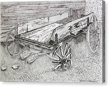Broken Wagon Canvas Print by David Cardwell