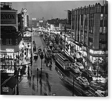 Bronx Fordham Road At Night Canvas Print by Underwood Archives