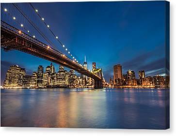 Brooklyn Bridge - Manhattan Skyline Canvas Print by Larry Marshall