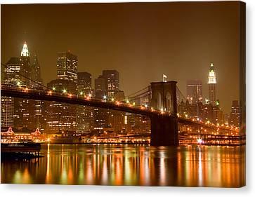 Brooklyn Bridge And Downtown Manhattan Canvas Print by Val Black Russian Tourchin