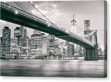 Brooklyn Bridge And New York City Skyline At Night Canvas Print by Vivienne Gucwa