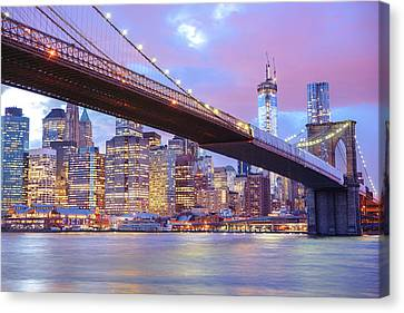 Brooklyn Bridge And New York City Skyscrapers Canvas Print by Vivienne Gucwa