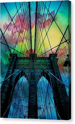 Ny Canvas Print featuring the digital art Psychedelic Skies by Az Jackson