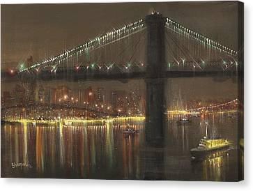 Brooklyn Bridge Cruciform Canvas Print by Tom Shropshire