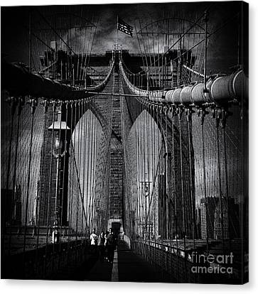 Brooklyn Bridge Up Close New York City Canvas Print by Sabine Jacobs