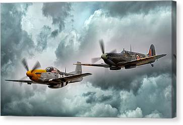 Air Force Canvas Print featuring the digital art Brothers In Arms by Peter Chilelli