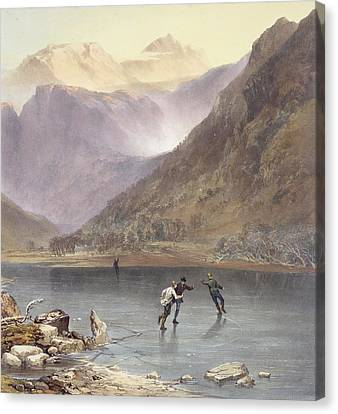 Brothers Water, Detail Of Ice Skaters Canvas Print by James Baker Pyne