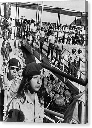Brown Berets Leave Catalina Canvas Print by Underwood Archives