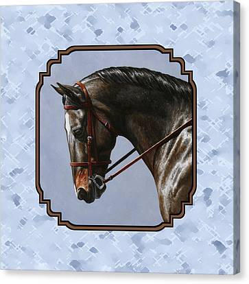 Brown Dressage Horse Pillow Blue Canvas Print by Crista Forest