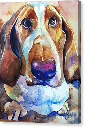 Brown Eyes Canvas Print by Maria's Watercolor