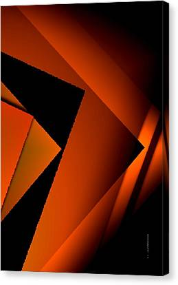 Brown Over Black In Abstract Art Canvas Print by Mario Perez