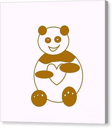 Brown Panda Canvas Print by Ausra Huntington nee Paulauskaite