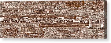 Brown Tone Harvest Scene Sketch Style Panorama Canvas Print by Minding My  Visions by Adri and Ray