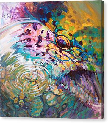 Brown Trout And Mayfly - Abstract Fly Fishing Art  Canvas Print by Savlen Art