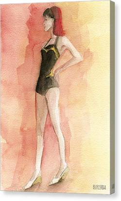 Brown Vintage Bathing Suit 3 Fashion Illustration Art Print Canvas Print by Beverly Brown Prints