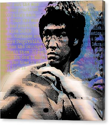 Bruce Lee And Quotes Square Canvas Print by Tony Rubino