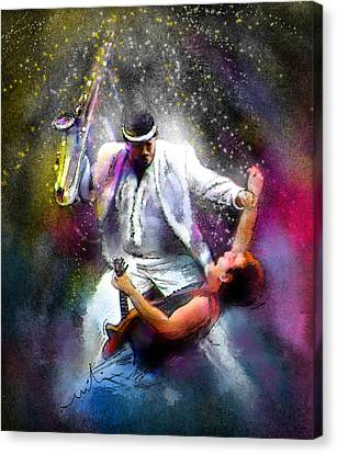Bruce Springsteen And Clarence Clemons Canvas Print by Miki De Goodaboom