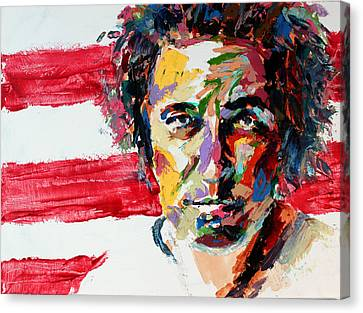 Bruce Springsteen Canvas Print by Derek Russell
