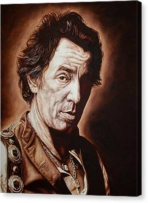 Bruce Springsteen Canvas Print by Mark Baker