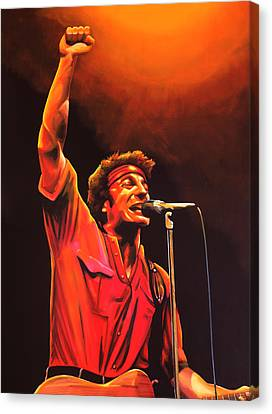 Bruce Springsteen Painting Canvas Print by Paul Meijering