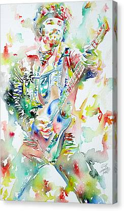 Bruce Springsteen Playing The Guitar Watercolor Portrait Canvas Print by Fabrizio Cassetta