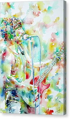 Bruce Springsteen Playing The Guitar Watercolor Portrait.1 Canvas Print by Fabrizio Cassetta