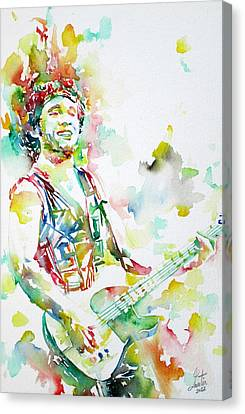 Bruce Springsteen Playing The Guitar Watercolor Portrait.2 Canvas Print by Fabrizio Cassetta