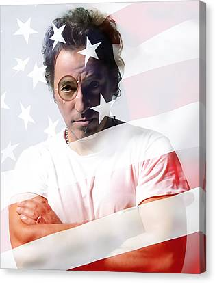Bruce Springsteen Portrait Canvas Print by Marvin Blaine