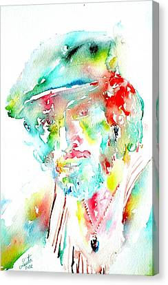 Bruce Springsteen Watercolor Portrait Canvas Print by Fabrizio Cassetta