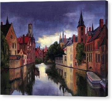 Bruges Belgium Canal Canvas Print by Janet King