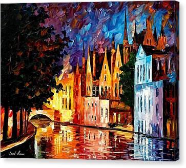 Bruges - Northern Venice Canvas Print by Leonid Afremov