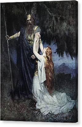 Brunhilde Knelt At His Feet, From The Canvas Print by Ferdinand Leeke