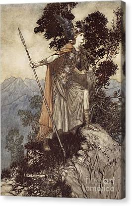 Brunnhilde From The Rhinegold And The Valkyrie Canvas Print by Arthur Rackham