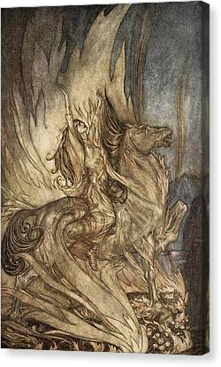 Brunnhilde On Grane Leaps Canvas Print by Arthur Rackham