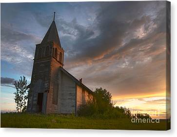 Brush Hills Church At Sunset Canvas Print by Dan Jurak