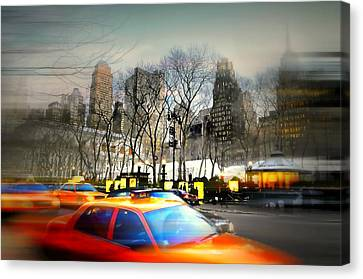Bryant Park Taxi Canvas Print by Diana Angstadt