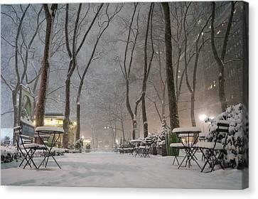 Bryant Park - Winter Snow Wonderland - Canvas Print by Vivienne Gucwa