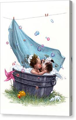 Bubble Bath Canvas Print by Isabella Kung