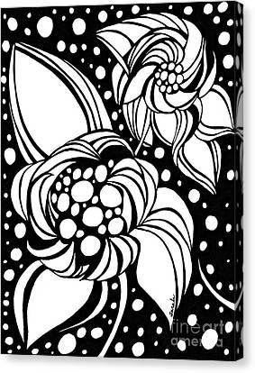 Bubble Flowers Canvas Print by Sarah Loft