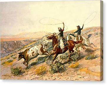 Buckaroos Canvas Print by Charles Russell
